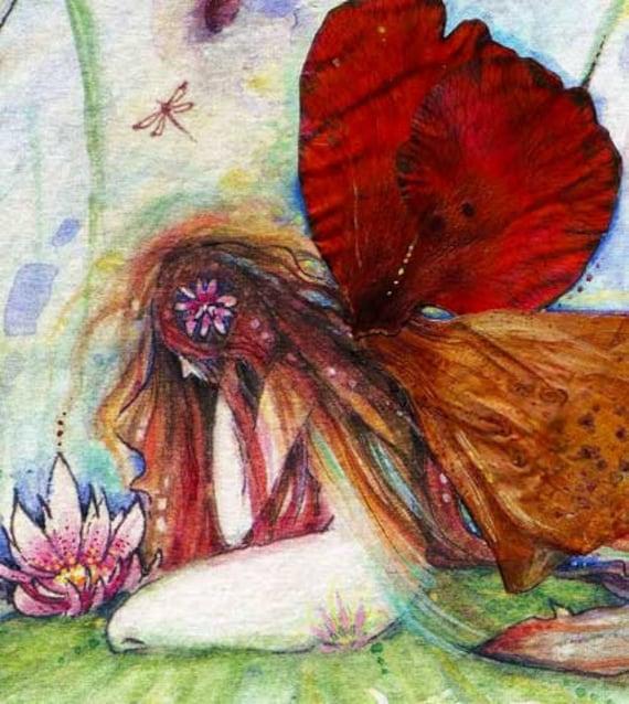 Fairy Pond art print fairy picture by Liza Paizis