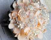 Vintage Bridal Brooch Bouquet - Pearl Rhinestone Crystal - Silver Peach Pink Grey - One Day RUSH ORDER Available - BB011LX