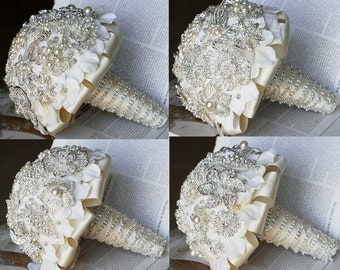Vintage Bridal Brooch Bouquet - Pearl Rhinestone Crystal - Silver Ivory Light Cream - One Day RUSH ORDER Available- BB0013LX