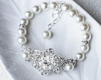 Bridal Pearl Rhinestone Pearl Bracelet Crystal Wedding Jewelry BL036LX