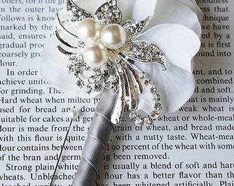 Hydrangea Boutonniere Corsages - Pearl Rhinestone Crystal - Silver White Grey - 25% off - BN002LX