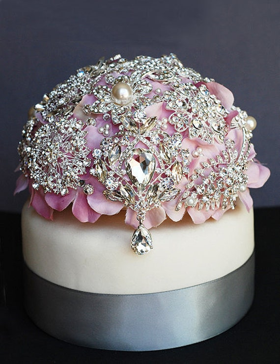 Luxury Vintage Bridal Brooch Bouquet Wedding Cake Topper - Pearl Rhinestone Crystal - Silver Blush Pink  CT004LX