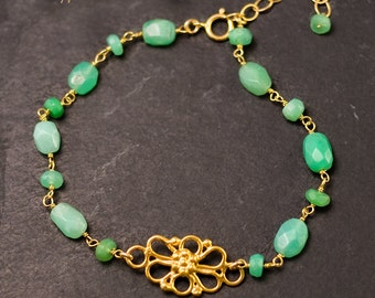Chrysoprase Bracelet  - Gold bracelet - Vermeil Filigree bracelet - Wire wrapped bracelet - bridesmaid bracelet