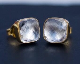 Clear Quartz Stud Earrings - April Birthstone Earrings - Gemstone Studs - Cushion Cut Studs - Gold Stud Earrings - Post Earrings