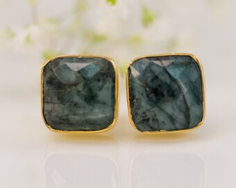 Raw Emerald Stud Earrings - Mary Birthstone Studs - Gemstone Studs - Cushion Cut Studs - Gold Stud Earrings - Post Earrings