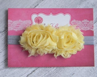 Baby Flower Headband- Double Yellow Shabby Frayed Flower on Soft Light Grey Elastic Headband