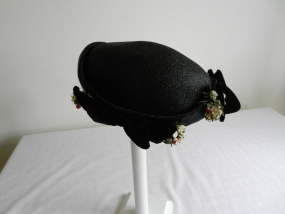 Vintage Black Hat from Gladys and Belle with Velvet Bows and Flowers 1940's-50's
