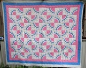 Antique Quilt Blue Pink Cotton Patchwork Applique Handmade Hand Stitched Full Quilt