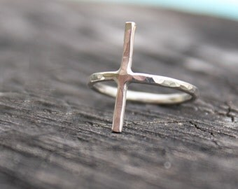 thin cross ring delicate cross ring thin sterling silver ring sideways cross ring minimalist jewelry