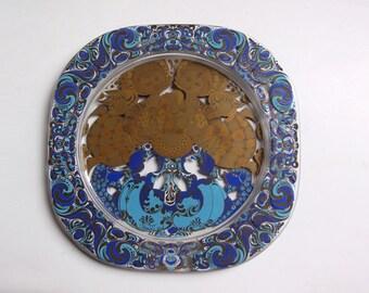Vintage Bjorn Wiinblad Christmas Glass Plate 1980 -  Rosenthal