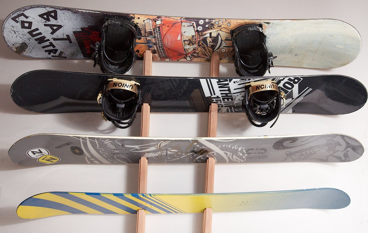 Snowboard wall rack mount holds 4 boards zoom amipublicfo Image collections