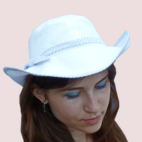 White Dove Wide Brim Sun Hat in Pure White Crincled Cotton. SOLD OUT. Available by custom order.