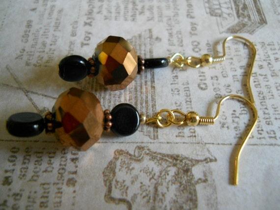 Bronze Faceted Czech Glass Beaded Earrings Copper Black Jewelry