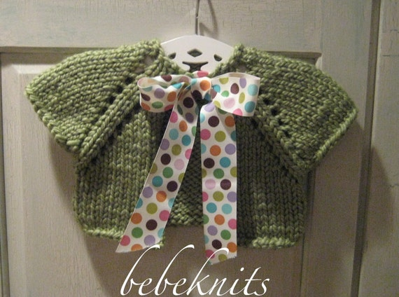 Hand Knit  Baby Cardigan in Sweet Pea Green