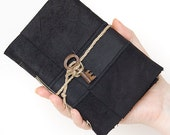 Recycled leather journal artist's medium diary vintage skeleton key book sketch hand sewn blank pages black