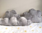 Fluffy Grey Cloud Pillows with Silver Lining - Set of 3 - perfect for kid's room