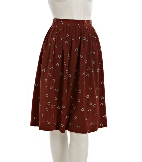 Fun brown vintage skirt with black and white cloud dot pattern --  original tags