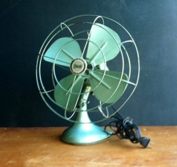Vintage Diehl fan, Electric, greenish blue.