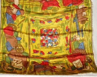 """Vintage 1960s Abstract Print Satin Acetate Fringed Scarf 27"""" square"""