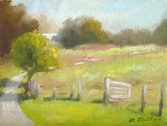 McDaniel Farm, Late September - original oil painting by Keiko Richter 6x8