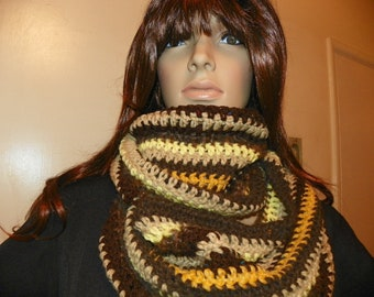 Fall Leaves Cowl Neck Warmer Shades of Brown  Infinity Scarf  Hand Crochet