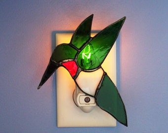 Night Light Stained Glass Ruby Throated Hummingbird