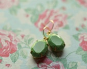 Green Earrings Vintage Glass Faceted Oval Opaque Dangle  Wedding Bride Bridesmaid Simple Elegant