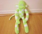 Celery cream sock monkey doll - pale pastel green and white checkers and vintage button