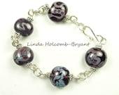 Silver Bracelet Purple On Purple with Swirls and Dots, Lampwork Glass Beads