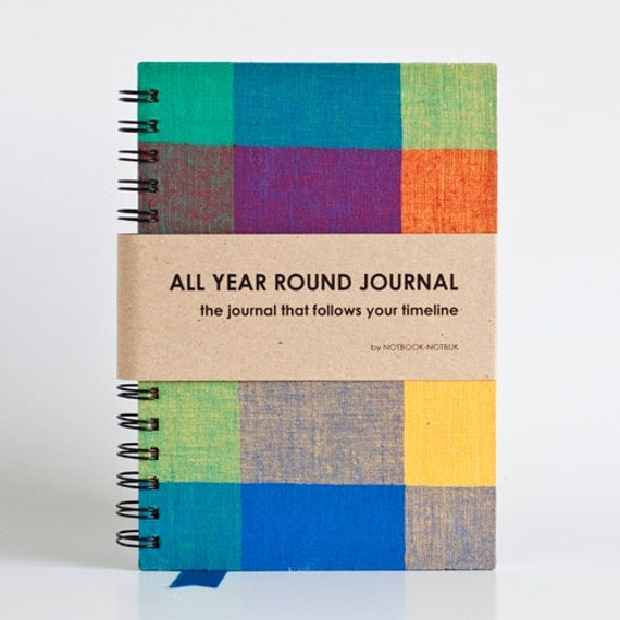 All Year Round Timeless Journal (Self filled dates, months & years, fabric wrapped) - Happy Squares