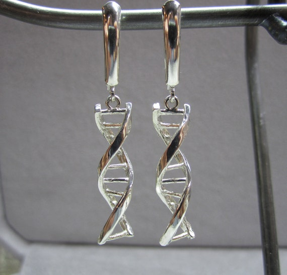DNA earrings silver leverbacks gift for science dangle earrings