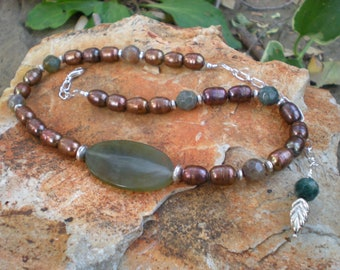 Autumn Treasure necklace, one of a kind beaded jewelry by Grey Girl Designs on Etsy
