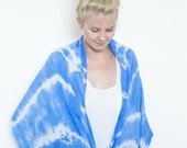 30% SALE - Tie dye blue hand dyed cotton scarf - StillWithYou