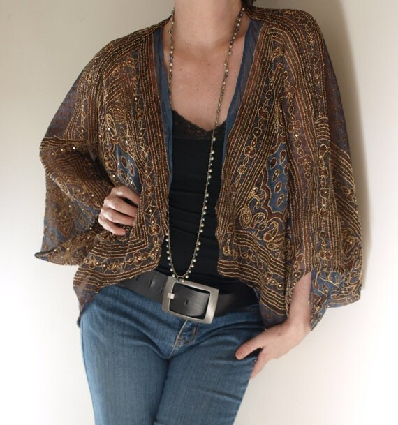 Upcycled Ethnic Shrug Batwing Hippie Bohemian Draped Sheer Embroidered  sz  L XL