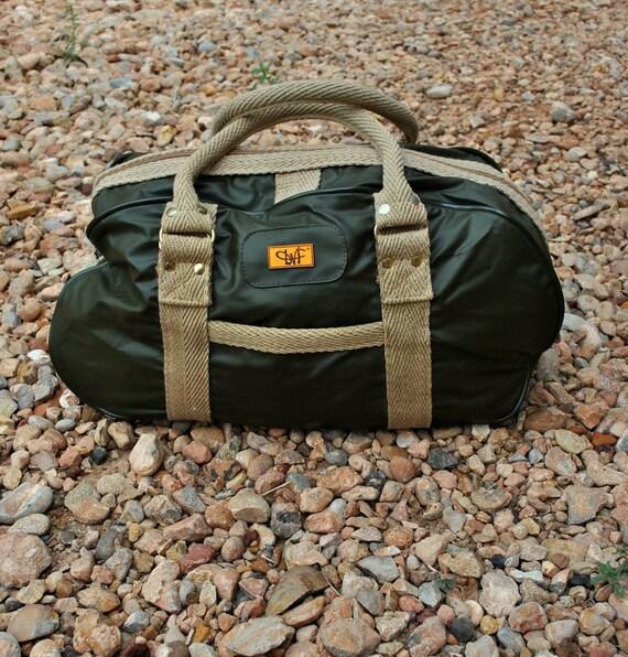 Vintage Diane Von Furstenberg Purse, Bag, Duffel, LUGGAGE - Army Green - In Beautiful Condition