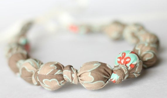 Fall Necklace, Khaki Gray Teething, Breastfeeding, Babywearing, Bridesmaid Necklace- Floral Damask