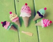 Crochet Pattern - Ice Cream amigurumi PDF - rattle, tiny toy, baby mobile crochet pattern - Instant Download