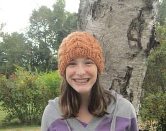 Knit Unisex Rust Cable Beanie