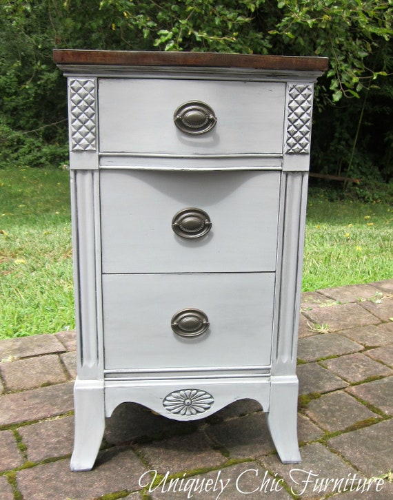 French Gray Vintage Nightstand