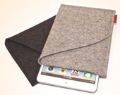 iPad Mini Wool Felt Sleeve/Case Double Pocket in Granite