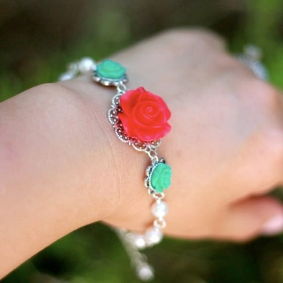 Candy Red and Turquoise Roses with White Swarovski Pearls Bracelet Jewelry Gift for Her.  Free Shipping.