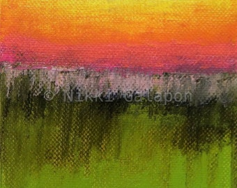 Abstract Landscape color field painting with green, pink and orange yellow, GICLEE PRINT of original oil painting