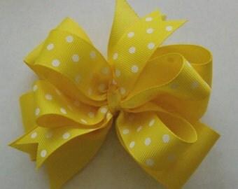 Hair Bow - Yellow -  Polka Dot - Grosgrain Ribbon