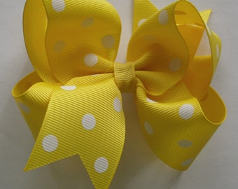 SALE  Hair Bow- Yellow Polka Dot - Hair Bow