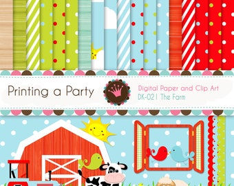 """Digital Paper Pack and Clipart """"The Farm"""", animals, cow, sheep, bird, barn, tractor. For Personal and Small Commercial Use DK-020"""