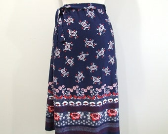 Plus Size Skirt 1970s Navy Blue Paisley Floral Skirt - 1X