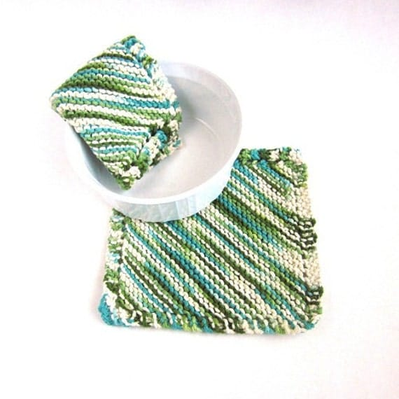 Knitted Dishcloths Misty Blue Olive Green Lakeside