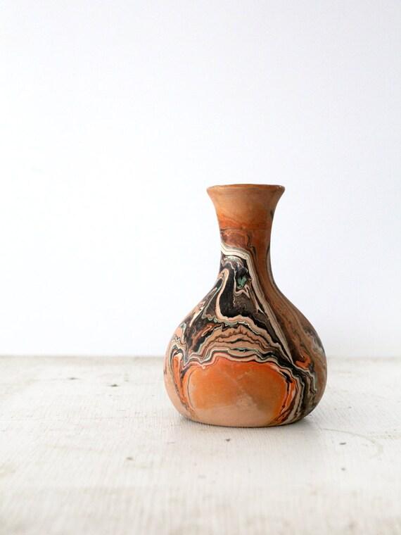 Vintage Nemadji Pottery // Clay Vase // Dusty Swirler