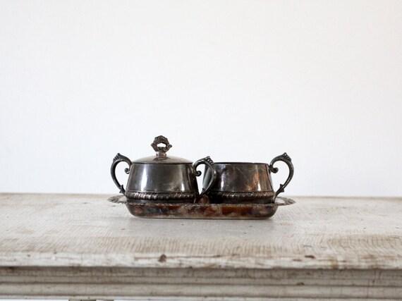 Vintage Silver Cream and Sugar Set / Silver Tea Set