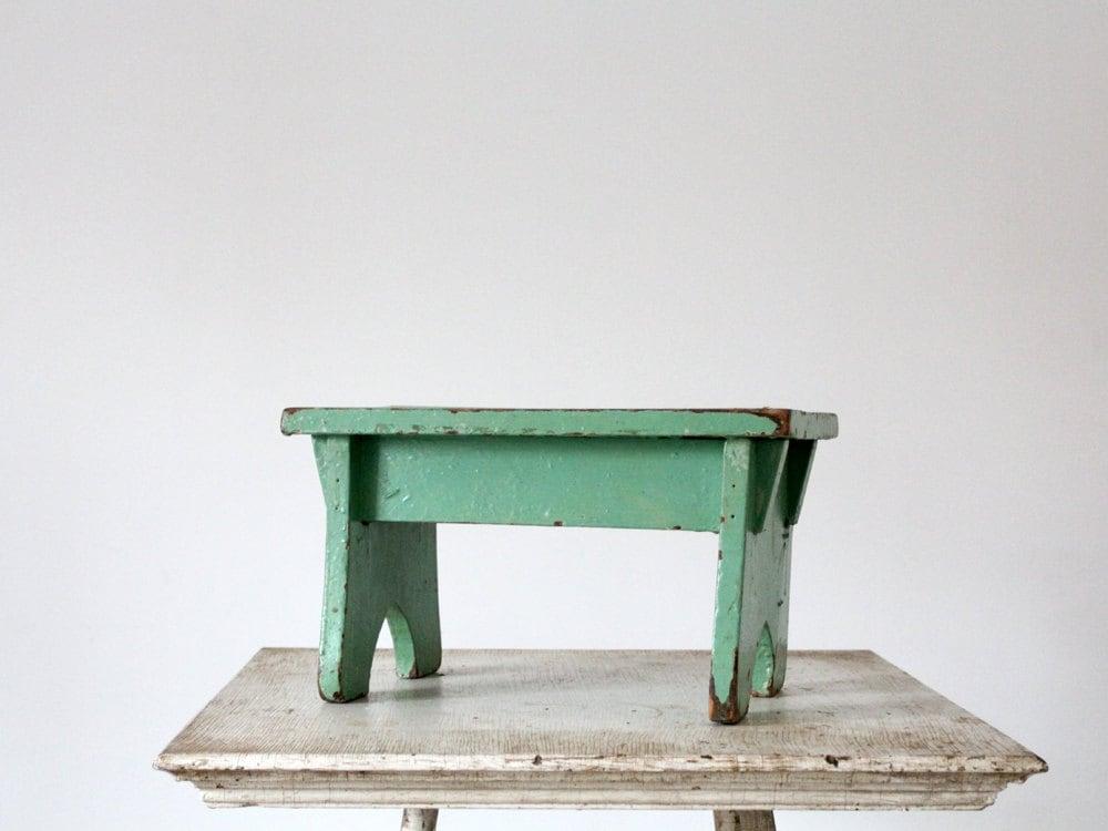 Antique Step Stool Green Wood Riser